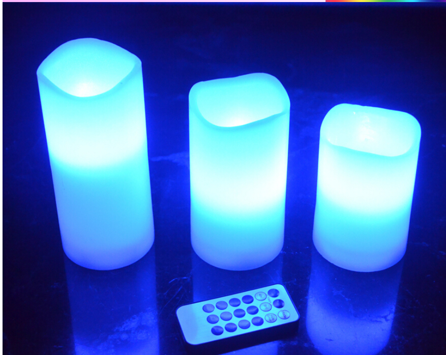 3pcs/set LED Remote Control Electronic Wax Candle 12 Color Changing Flicker Flameless Candle Light Set