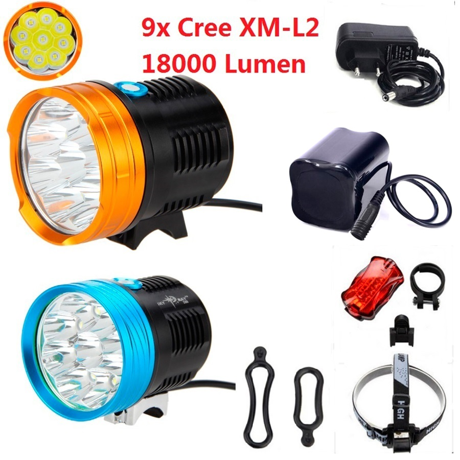 Mountain Bike Light 18000 Lumen 9x Cree XM-L2 Led Cycling Bicycle Headlamp Flashlight + 8.4V 20000mAh 26650 Battery Pack+Charger 15000 lumen 9x cree xm l2 led 5modes cycling head front bicycle light bike lamp headlamp 4x18650 battery pack charger