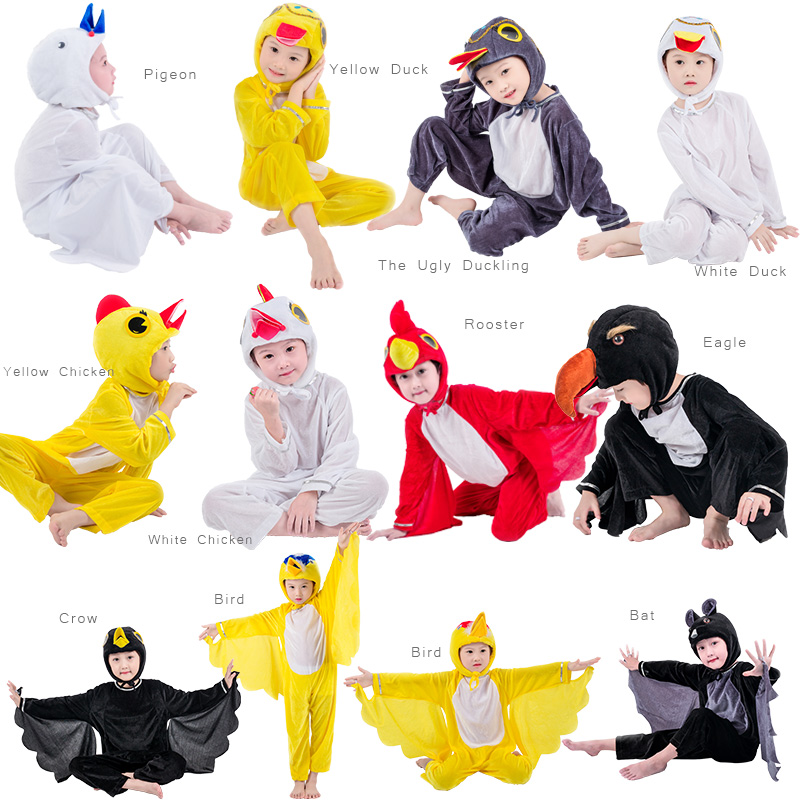 Kids Children Adult Halloween Animal Costumes Bird Chicken Rooster Bat Eagle Pigeon Jumpsuit Stage Show Carnival Party Costume