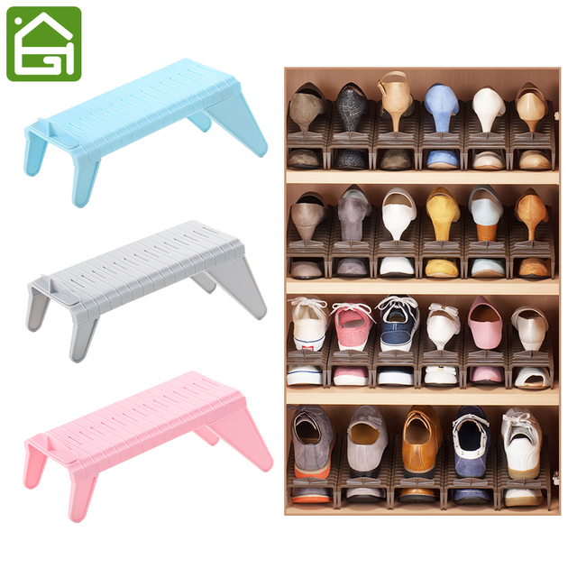 Creative Adjustable Height Shoe Slots Organizer Stand Rack Living Room  Closet Space Saver High Heels Shoe