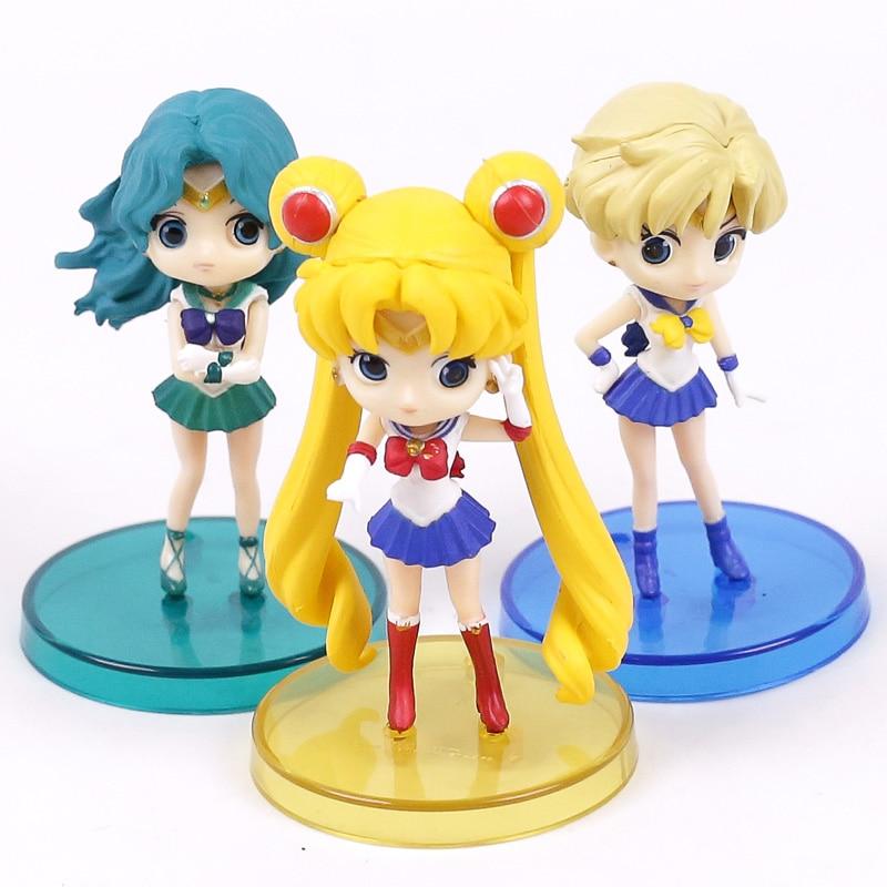 Q posket Sailor Moon Tsukino Usagi Sailor Neptune Kaiou Michiru Sailor Uranus Tenoh Haruka PVC Figures Toys 3pcs/set 8cm 2017 hot sale 15cm japan anime kawaii sailor moon tsukino usagi pvc action figure collectible model toy girls doll figures wx073