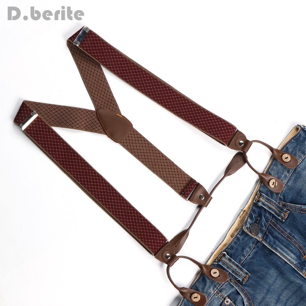 Men's Adjustable Buttons Braces Elastic Suspenders Unisex Plaid Braces 3.5cm Width BD773