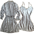 Light Gray Sexy Women's Home Wear Bathrobe + Nightdress Two Piece Robe & Gown Sets Fashion Female Lace Sleepwear Set Pijamas