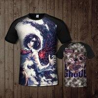 2019 Summer Harajuku cotton funny T shirts Anime Tokyo Ghoul 3D Print Women Men Short Sleeve T shirt