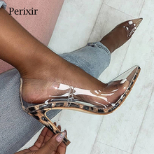 Perixr Women PVC Clear Pumps Leopard Fashion Sexy High Heel Pumps Pointed Toe Party PVC Thin Heel Spring Autmn Shoes for Women sexy leopard print heel women pumps thin super high heel suede slingback pumps t bar strap sandals nightclub party dress shoes