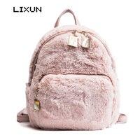 Winter Women Faux Fur Backpacks School Bags For Teenagers Rabbit Hair Mini Daypack Soft Plush Shoulder