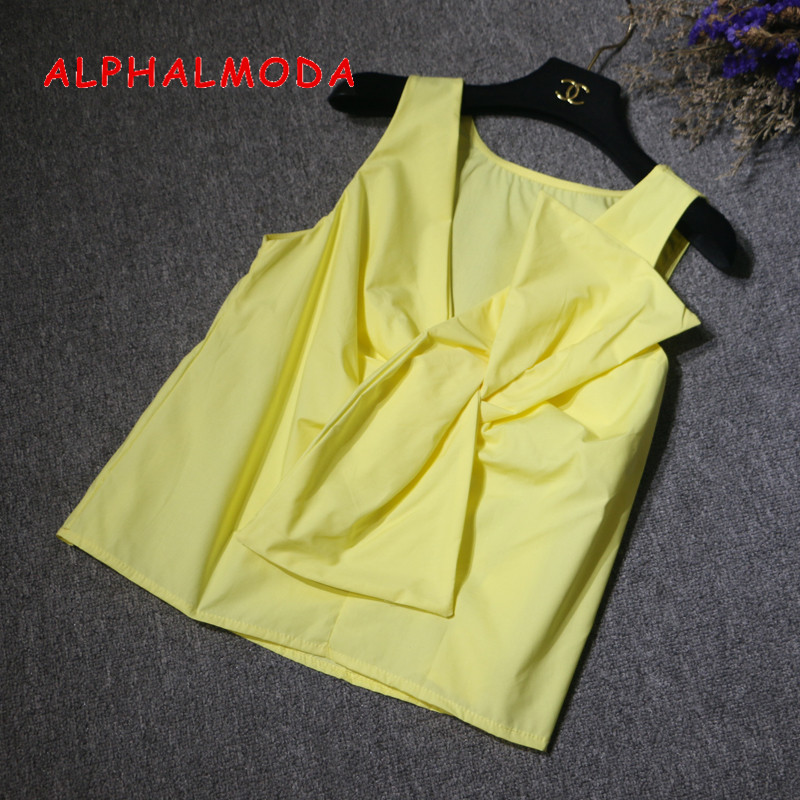 ALPHALMODA Sweet Bow Sleeveless Sleeveless Loose   Shirts   Solid Color Women Pullover Summer Cotton   Blouses     Shirts