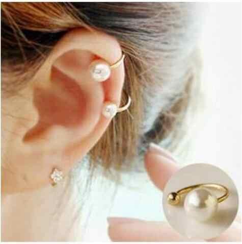 Moda Simple personalidad en forma de U cinco estrellas en forma de corazón imitación perla sin piercing oreja brazalete pendientes encanto femenino je