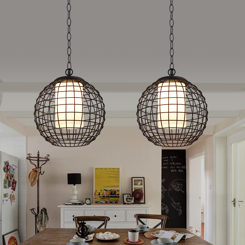 Nordic Simple Retro Edison Wrought Iron Ball Cage Lamps and Lanterns Hotel Cafe Pendant lamp Restaurant Hall Bar restaurant bar cafe pendant lights retro hone lighting lamp industrial wind black cage loft iron lanterns pendant lamps za10