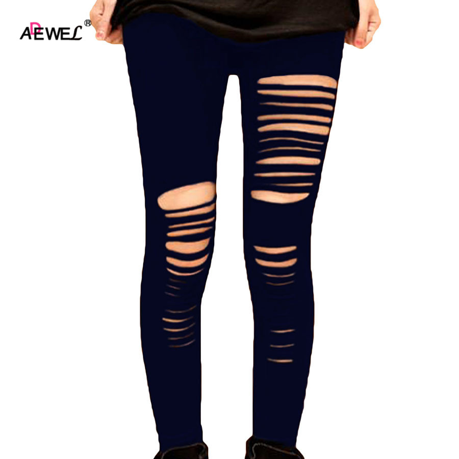 ADEWEL Basic Strech Black   Leggings   Holes Ripped   Leggings   Punk Rock Fashion Women Leggins Casual Jeggings Dancing Pant