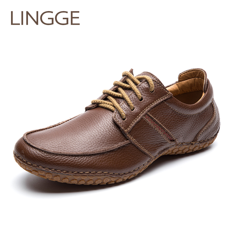 LINGGE Brand Men'S Shoes 100 % Genuine Leather Lace-Up Men Shoes Leisure Rubber Non-Slip Casual Shoe Vintage Men Daily Shoe