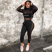 Sexy Mesh TWO PIECE SET Matching Outfits Nightclub 2 Pcs Suit Jogger Pants See Through Hollow Out Transparent Women Clothes Club