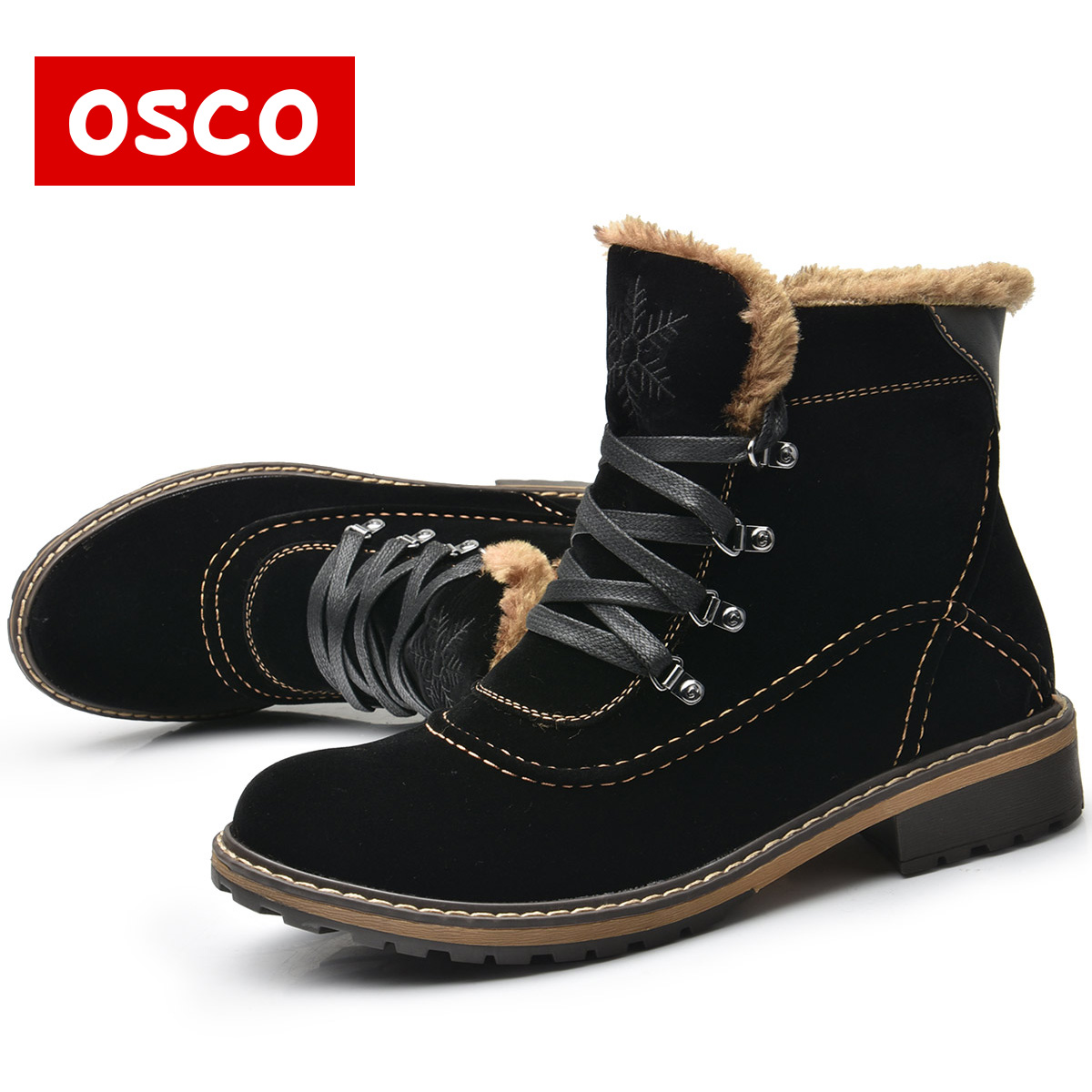 OSCO Brand Women Boots Female Winter Shoes Woman Warm Snow Boots Fashion Suede Fur Ankle Boots Black Brown Size 35-40 #119F03  new fashion style snow boots winter fashion black brown warm fur women casual shoes on sale size 34 39