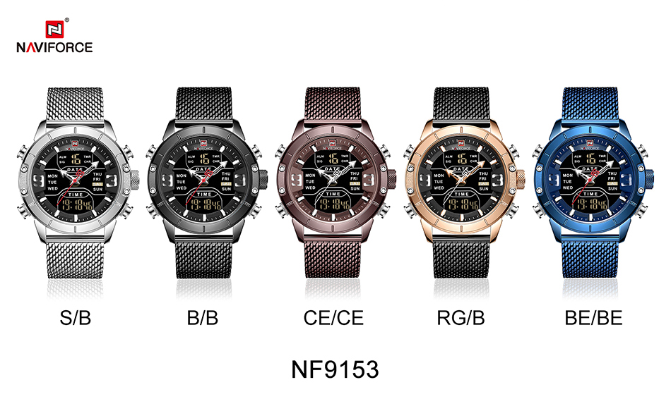 NAVIFORCE 2019 Men Military Waterproof LED Quartz Sport Watches Military Stainless Steel Mesh Male Business Relogio Masculino  (11)