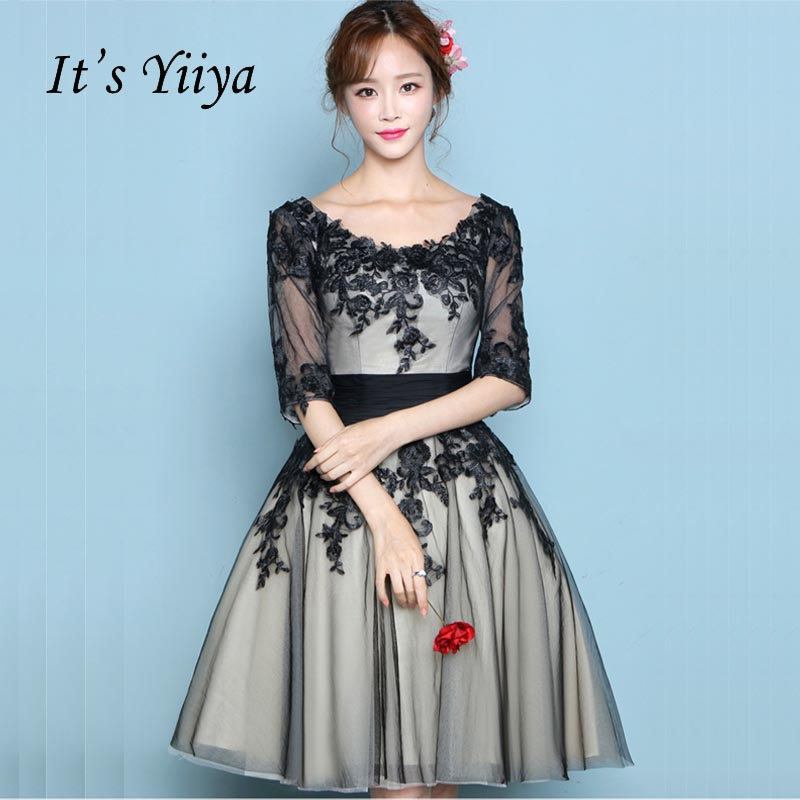 It's YiiYa Black Illusion Half Sleeves Floral Print Flowers Appliques   Cocktail     Dresses   Knee Length Formal   Dress   Party Gown LX045