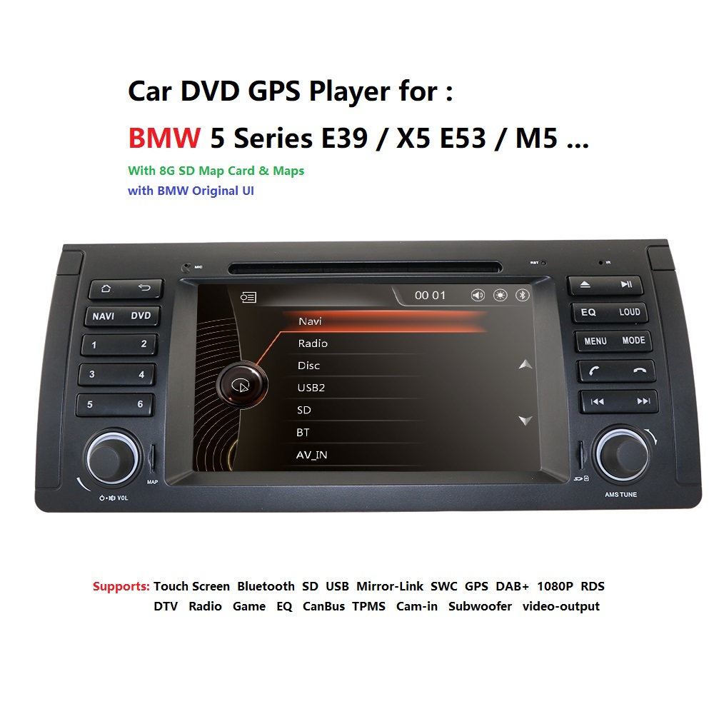 Touch screen Car DVD Radio GPS For BMW E39 X5 E53 With GPS Bluetooth RDS USB