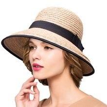 Chapéu de verão para As Mulheres Aba Larga Chapéus De Palha De Ráfia  Senhoras Disquete Chapéus de Sol Dobrável Chapéus de Praia . 611abf96687