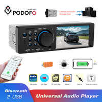 "Podofo 1 Din Car Radio Audio Stereo FM Bluetooth MP5 Multimedia Player 4.1"" Autoradio TF/AUX/USB 12V In-dash Remote Control"