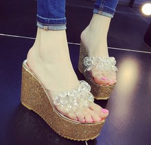 Womens shoes summer slipper wedges Bridal slippers party cinderella noskid platform thick sole rubber 35-39