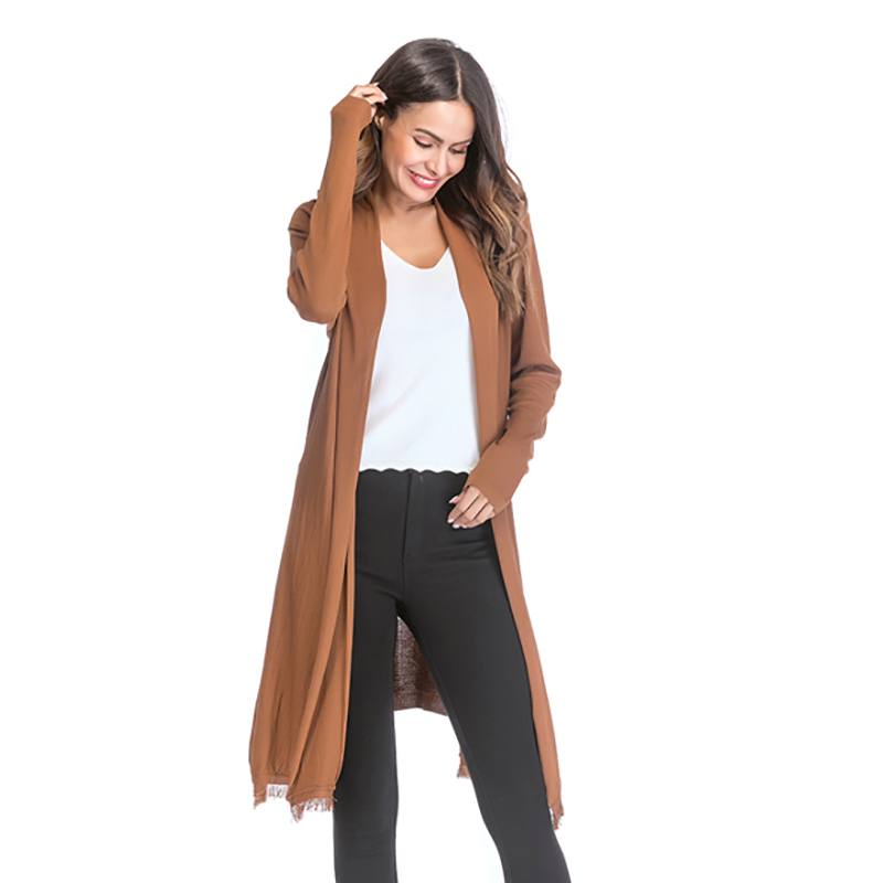 Kostlich 2018 Women Solid Color Tassel Long Knitted Cardigans Casual Open Stitch V Neck Full Sleeves Cardigans M-XL (2)