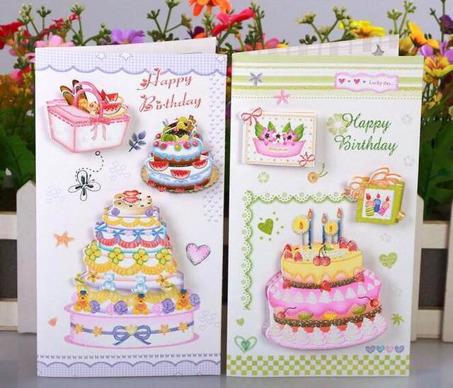 Online shop stereo cake handmade birthday greeting card with stereo cake handmade birthday greeting card with envelope happy birthday gift to friend card set free shipping m4hsunfo