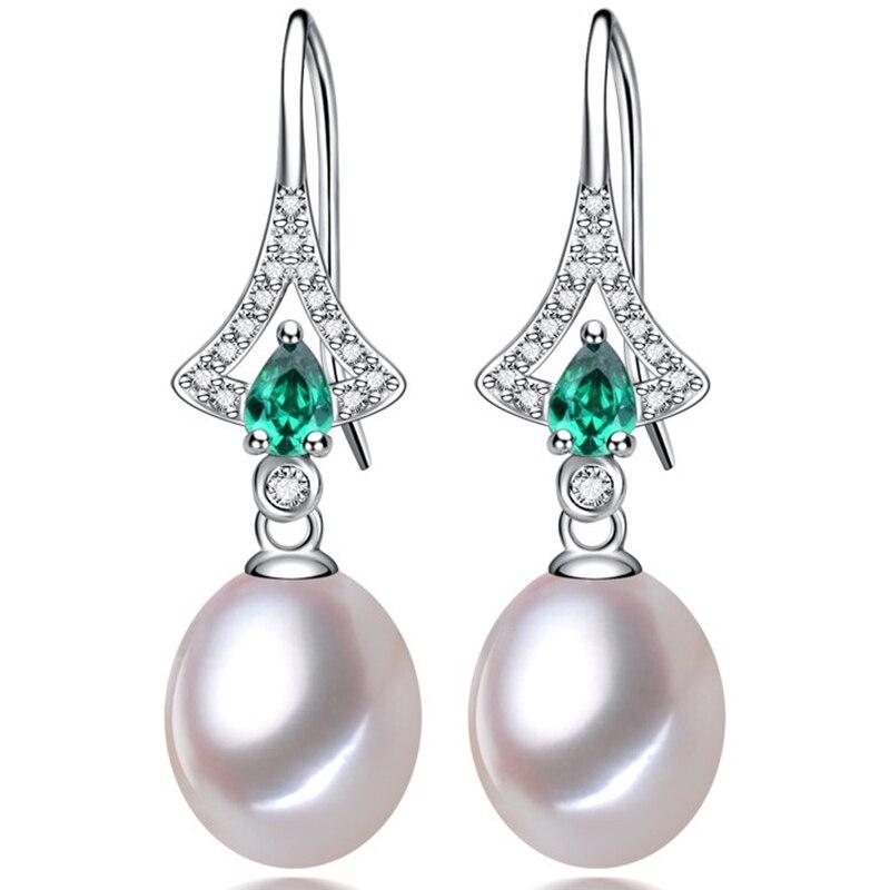 Women Gift word 925 Sterling silver real A natural pearl earrings earrings ear hook 9-10MM genuine S925 silver fashion gift 925 sterling silver freshwater pearl long ear hook earrings earrings