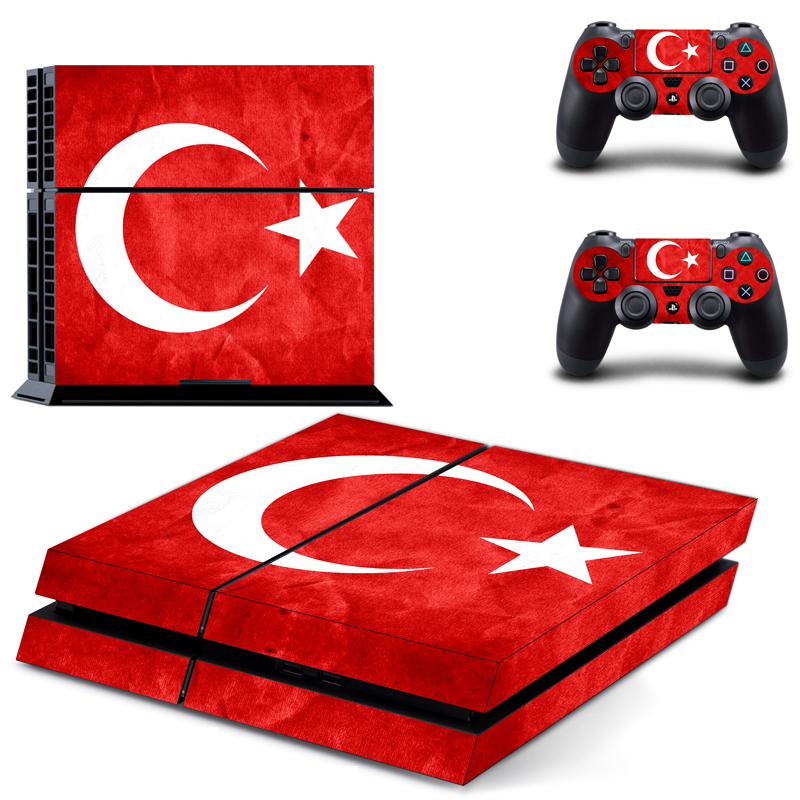 Stickers PVC Vinly Ps4 Skin of Turkey Flag Sticker Cover For Sony Playstation 4 Console and Controller Ps4 Accessory-in Stickers from Consumer Electronics