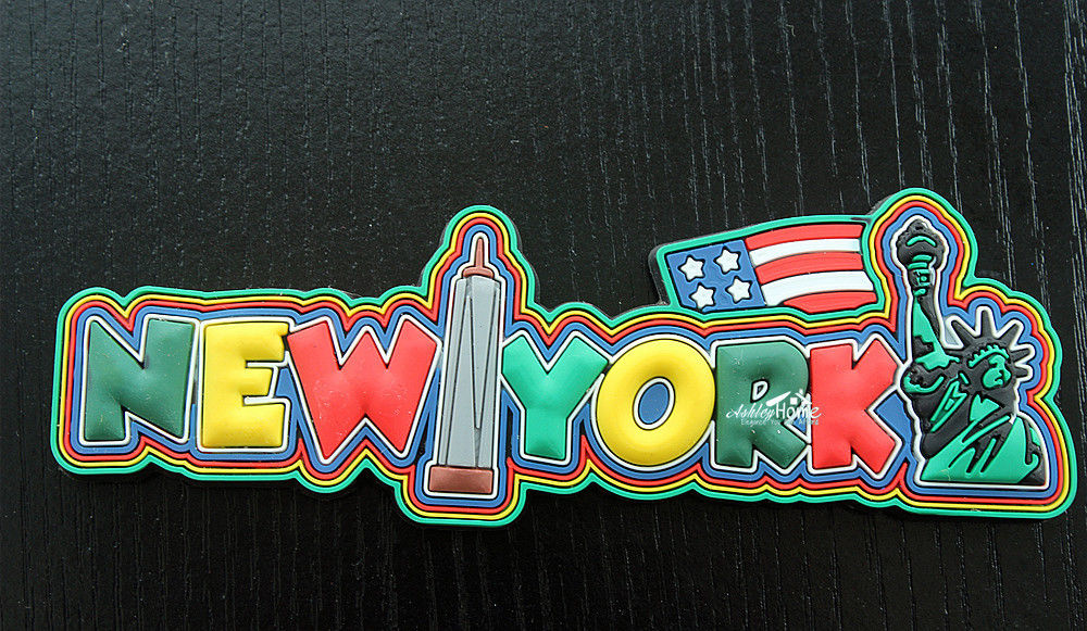New York City United States Funny Letters Rubber Souvenir Fridge Magnet Tourist Travel Gift image