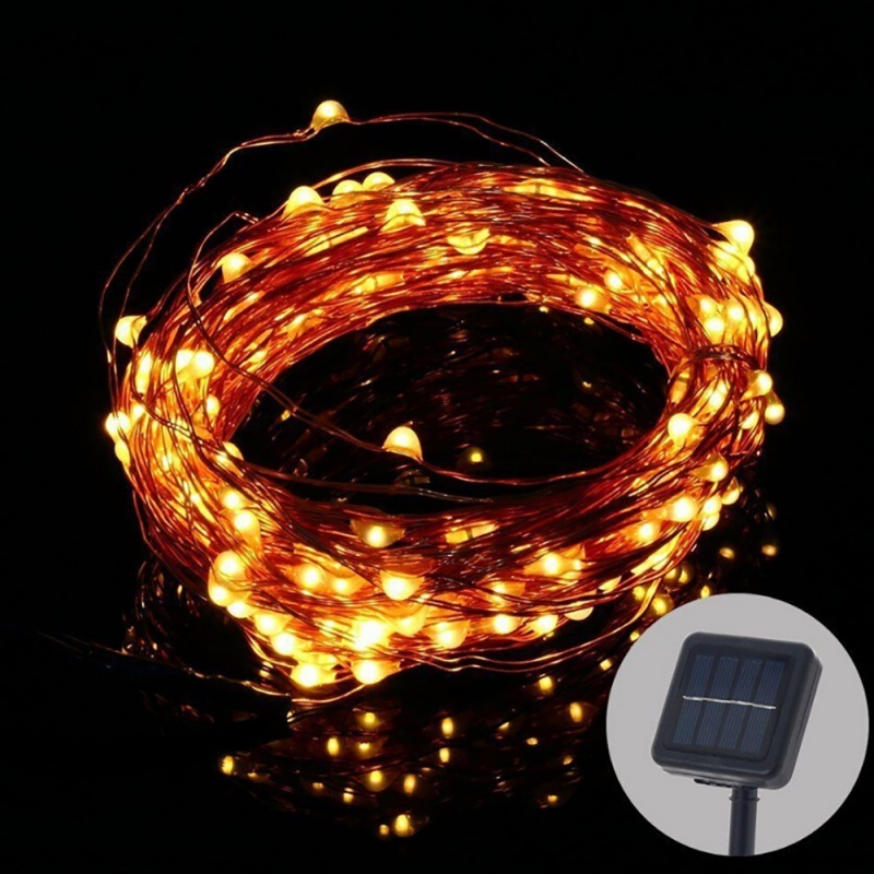 LED Solar 10M Copper Wire Solar LED String Lamp Fairy Holiday Light Strip Decor Garden Lawn Wedding Xmas Party Ambiance light