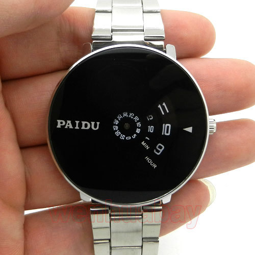 PAIDU Silver Band Quartz Wrist Watch Black Turntable Dial Clock Mens Womens Gift Unisex  ...