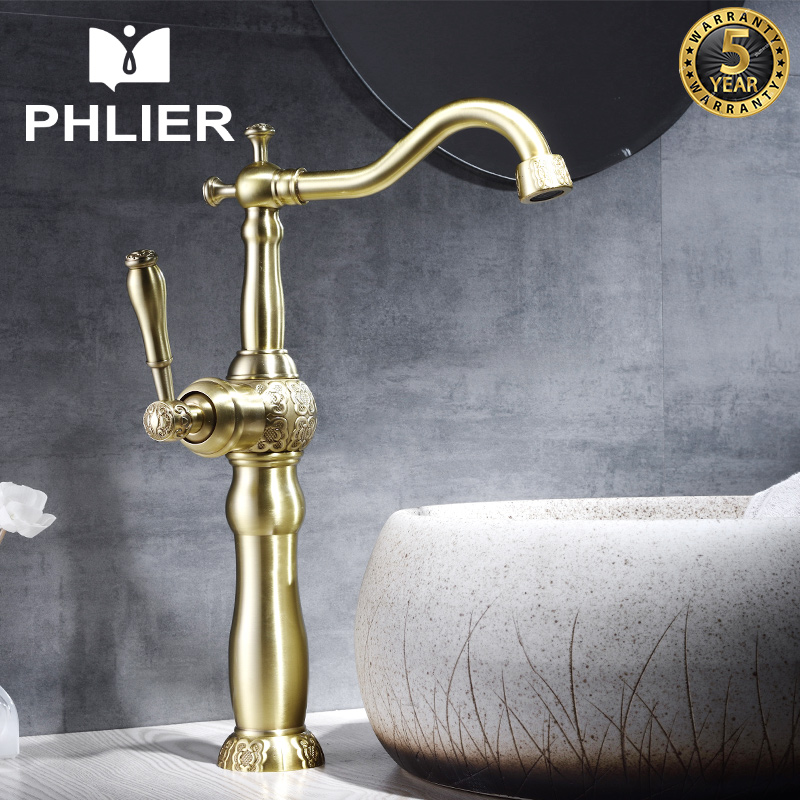 PHLIER Tall Bathroom Gold Faucet Single Handle 360 Rotating Long Spout Faucet Brass Hot and Cold Water Tap Bath Basin Faucets hpb brass chrome tall bathroom basin faucet mixer tap hot and cold water taps single hole handle torneira long spout hp3130