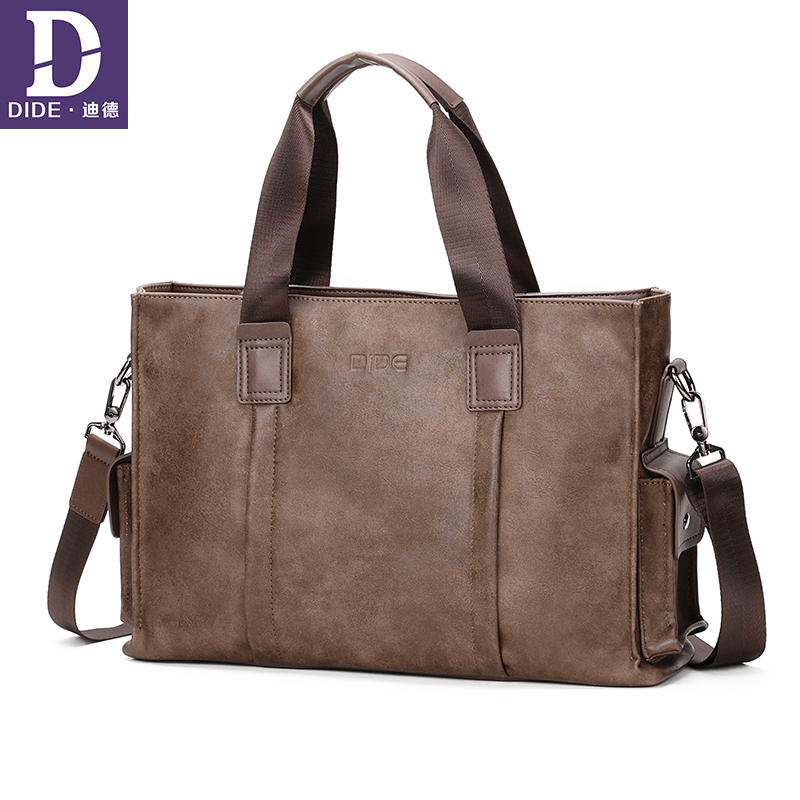 DIDE Leather 14 Laptop Men Briefcase Bag High Quality Luxury Brand Designer Bag Male Office Briefcase