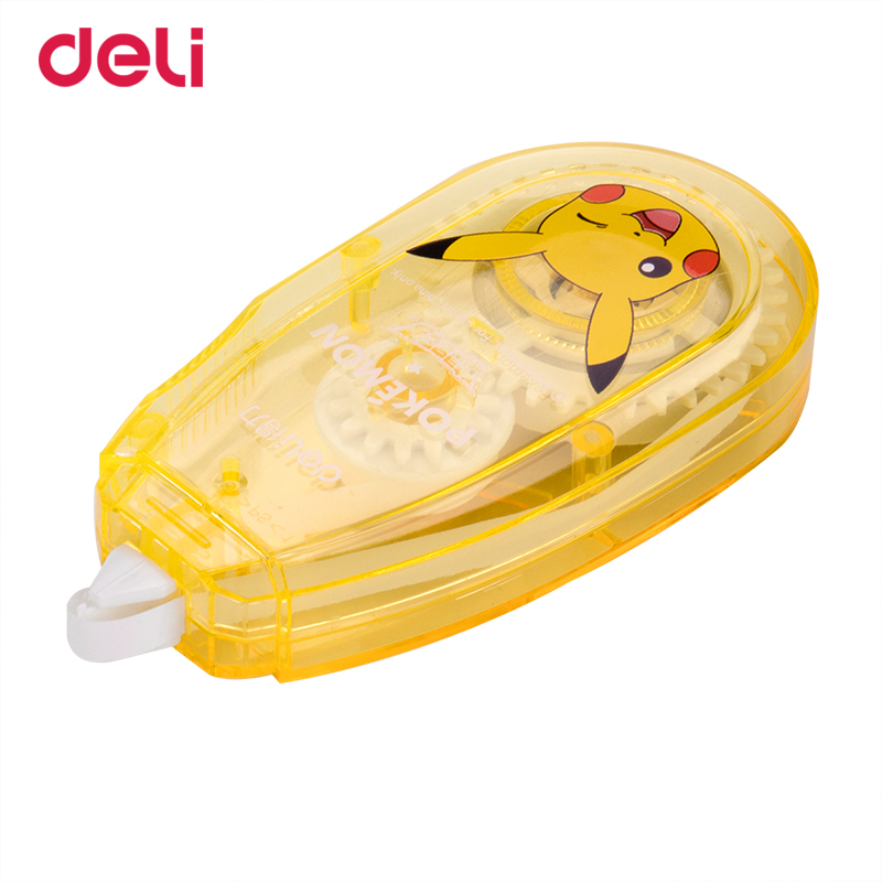 Deli Pokemon Correction Tape Large Capacity 30 Meters 3pcs Student Pikachu Stationery Creative kawaii school chancery supplies deli 8210 rules 10 meters 25mm pocket ruler anti wear steel tape precision measure regla drawing template school line chancery