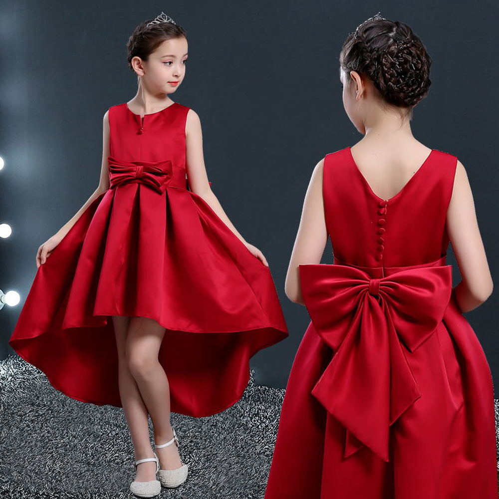New Kids Princess Wedding Party Gowns Girls 4 To 4 4 4 Years Satin Beads  Short Front Long Back Cocktail Dresses for Children