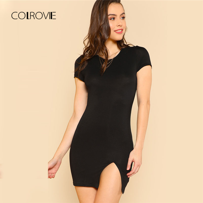 COLROVIE Cap Sleeve Slit Front Fitted Sexy Dress 2018 New Black Round Neck Cap Sleeve Elegant Dress Summer Sheath Bodycon Dress