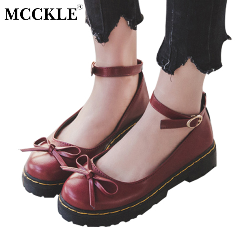MCCKLE Female Bowtie Ankle Buckle Sewing Slip On Style Casual Black Platform Mid Heels 2017 Women's Fashion Autumn Lolita Shoes mcckle women high heels ankle boots female buckle slip on suede shoes woman platform spring autumn casual shoes black size 35 39