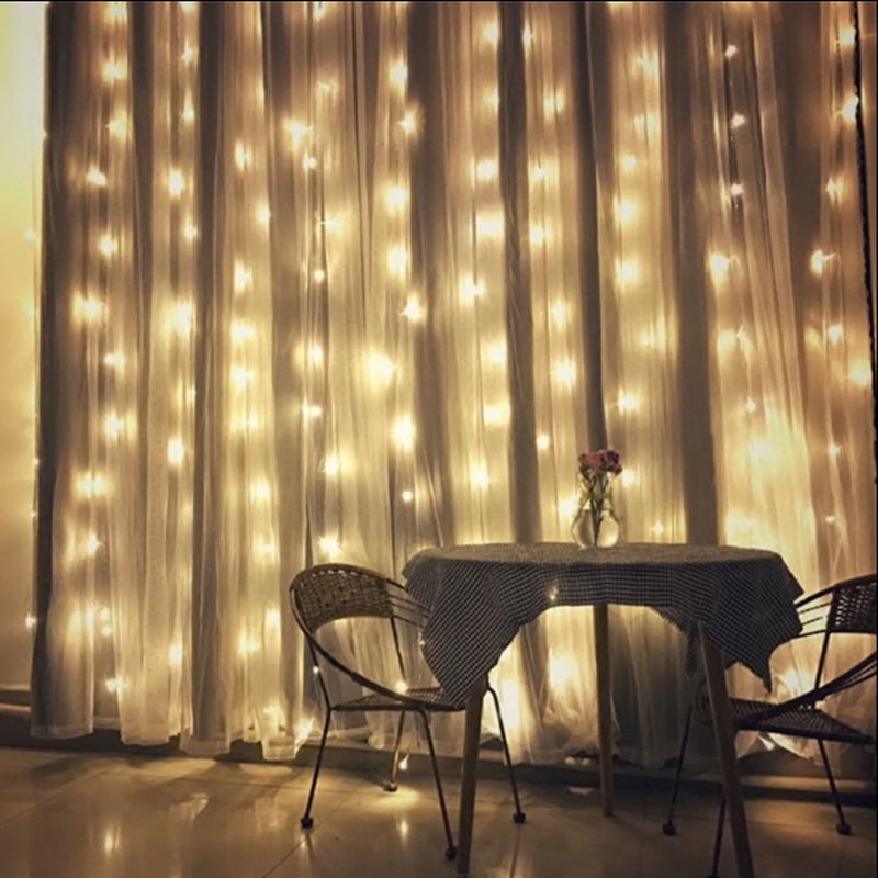 EU 220V US 110V LED Curtain String 4.5x3m 300LED icicle String Light Holiday Wedding Party Christmas Decoration Garland Lights