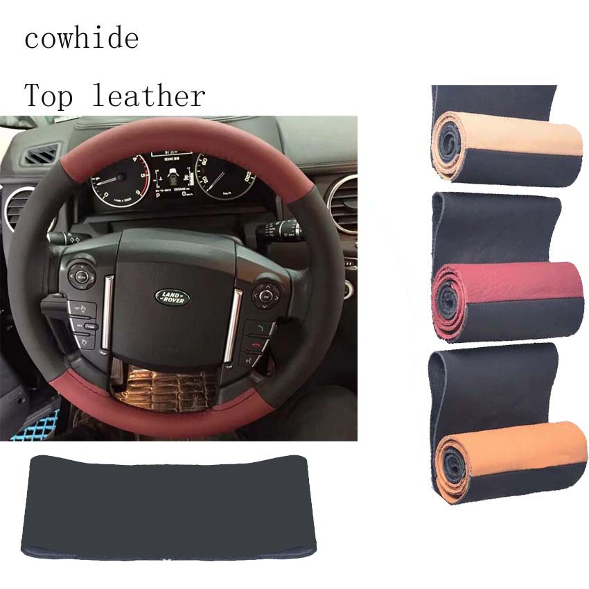 TOP leather cover on the steering wheel of the car braid case steering-wheel cover 38cm 36cm 40cm covers
