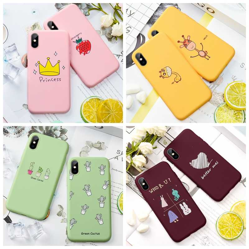 GerTong Cute Animals Phone Case For iPhone5 5s SE 6 6s 7 8 Plus Case Fruits Flowers Back Cover For iPhone X XS MAX xr Soft Coque