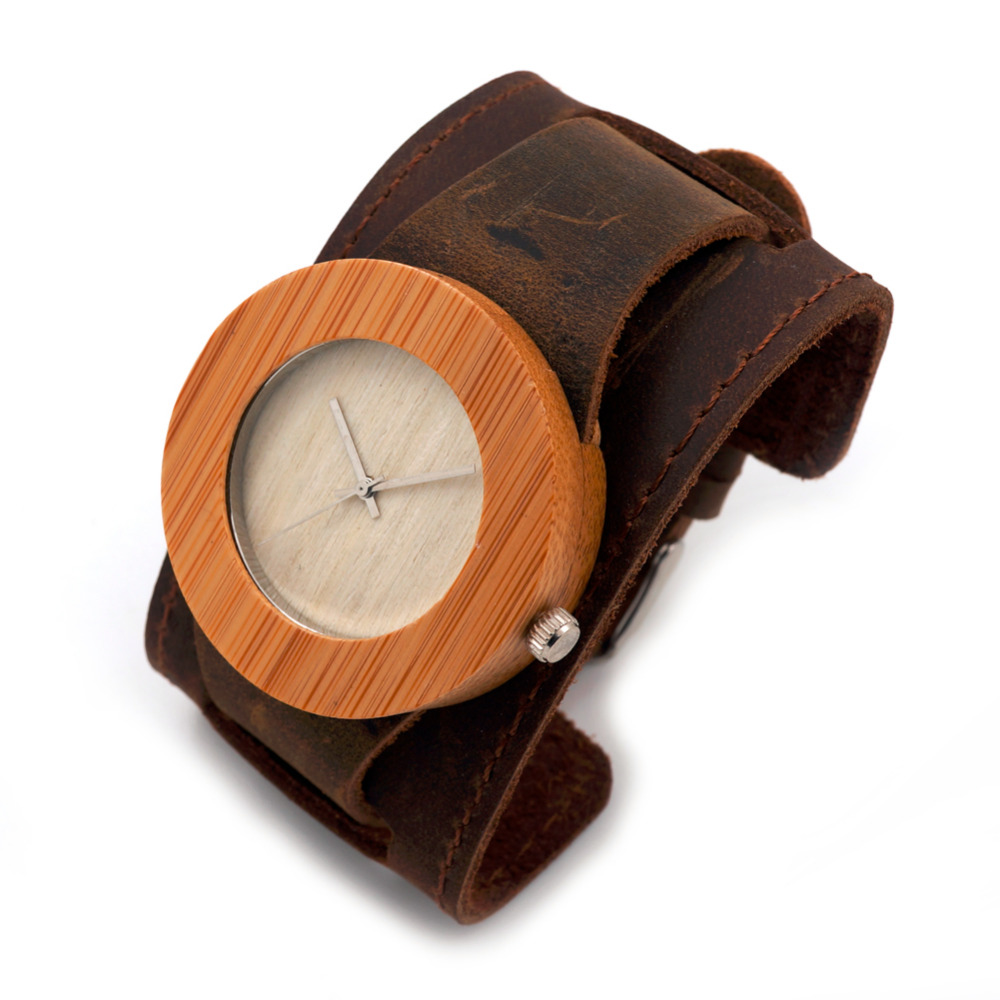 BOBO BIRD Brand Wood Watch Bamboo Round Wristwatches for Men and Women Japan 2035 Move Wooden Watches as Gifts C-C04