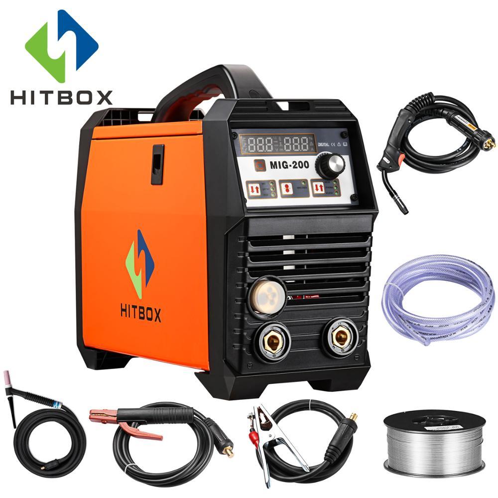 HITBOX MIG Soudeurs MIG200A 220 V Gaz MIG Machine De Soudage 200A Pour Inoxydable Et En Acier Au Carbone De Soudage Avec Accessoires