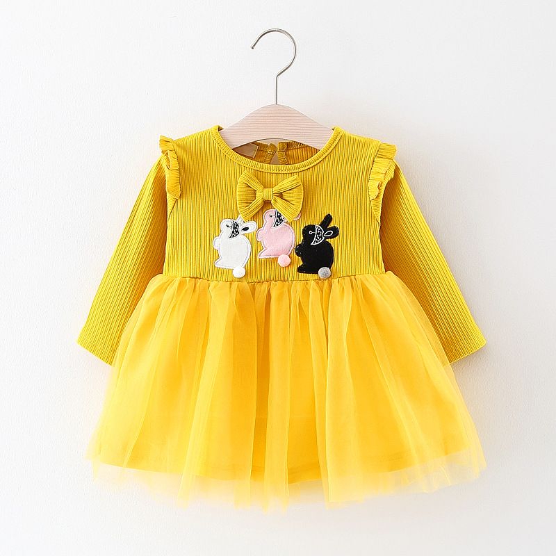 0-4 Year baby girls dress 2018 spring new Princess Rabbit petal sleeved Yam dress for todder girls outfit