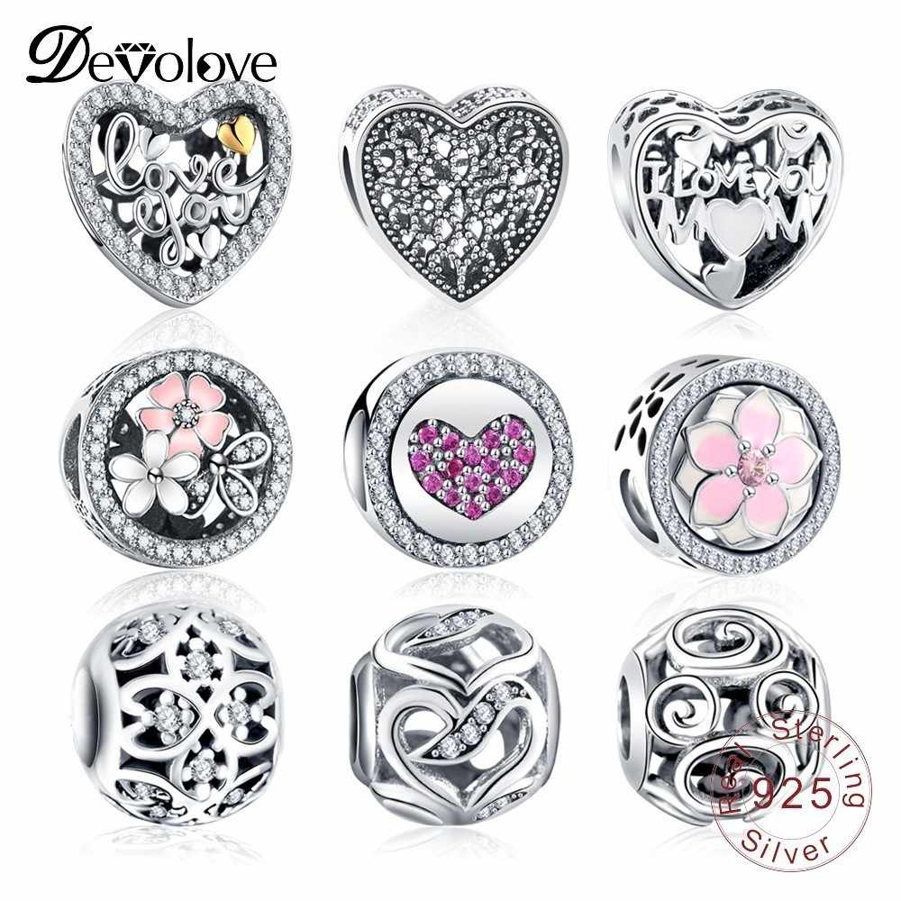 Devolove 925 Sterling Vintage Sparkling Charms Beads Fit Original Pandora Bracelet Silver Jewelry DIY Accessories Dropshipping