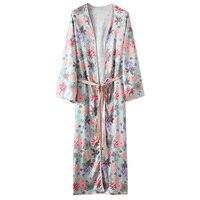 2017 Spring Summer Autumn Women Floral Blouse Shirt Kimono Belted Cardigan Fashion Long Sleeve Blusas Sleepwear Plus Size 3XL