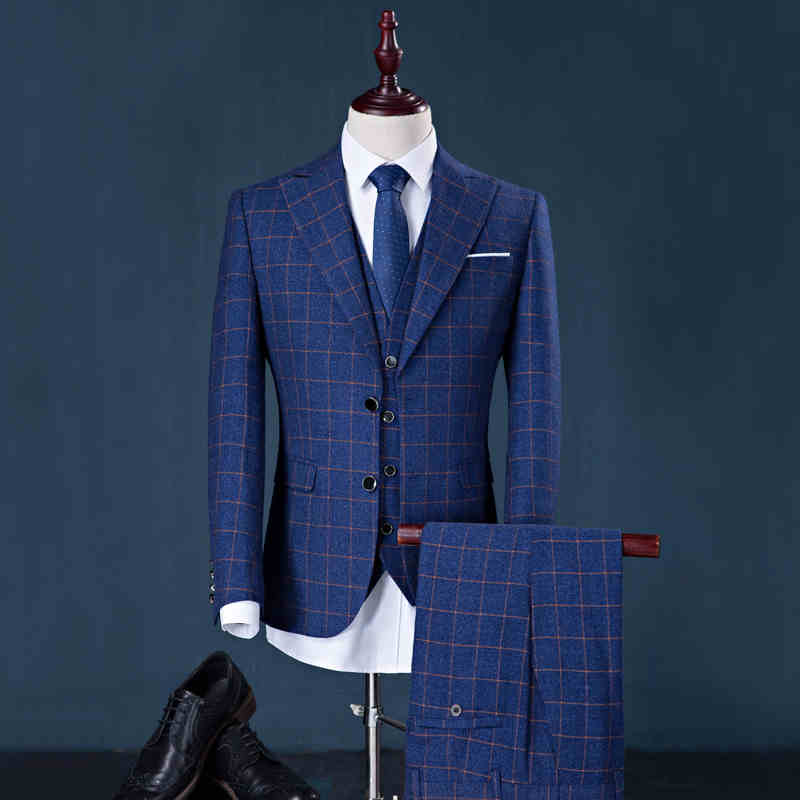 Men's Business Plaid Wedding Grooms Slim Fit Men Dress Suit Dark ...