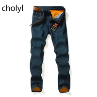 2017 New Men Activities Warm Jeans High Quality Famous Brand Autumn Winter Jeans Warm Flocking Warm