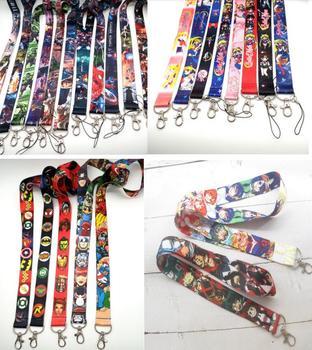 100 Pcs Popular Japanese Anime superheros  mixed Key Chains Keys Camera ID Card Lanyard  T38