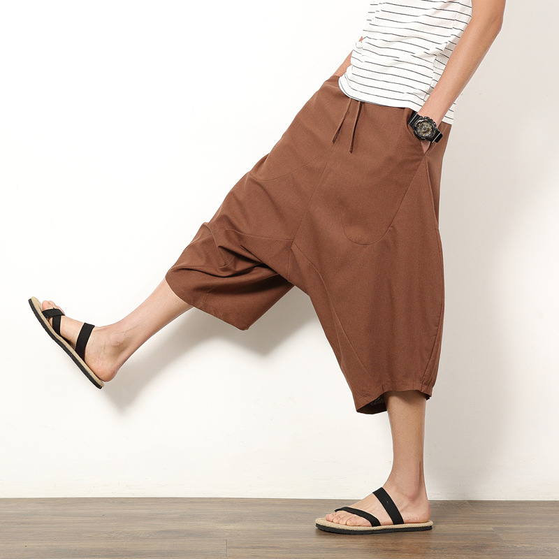 Mens Wide Leg Hip-hop Harem Baggy Hippie Pants Men Cotton Linen Loose Drawstring Harem Pants Plus Size