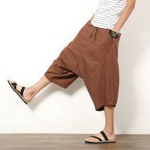 Men s Wide Leg Hip-hop Harem Baggy Hippie Pants Men Cotton Linen Loose  Drawstring Harem Pants Plus Size 6f60c74f6b3b