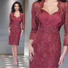 2015 Gorgeous Mother Of The Bride Dress Lace Evening Dress Knee Length 3 4 Sleeves Mother